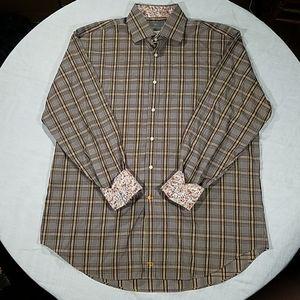 Men's Thomas Dean Plaid Flip Cuff Cotton Shirt